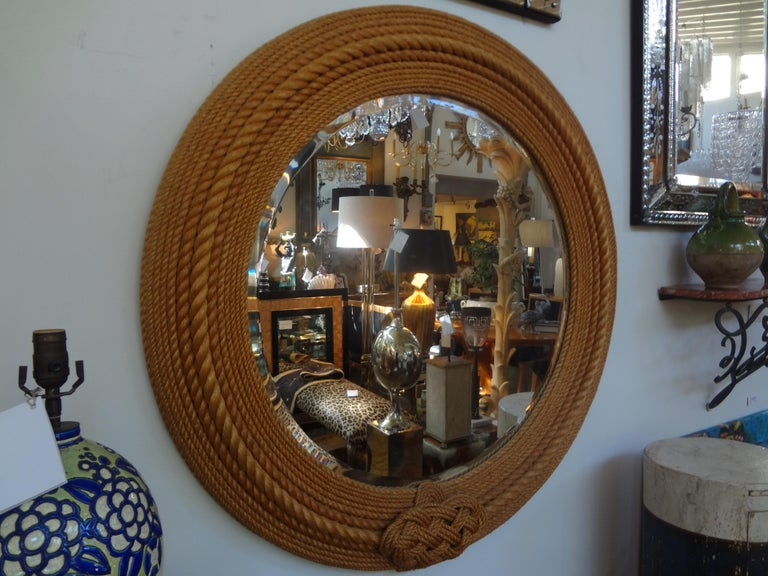 Mid-20th Century French Round Rope Beveled Mirror by Audoux & Minet For Sale