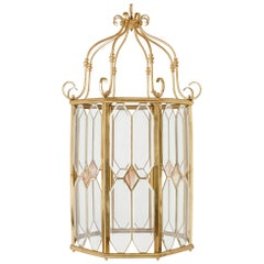 French Bevelled Glass and Polished Brass Lantern