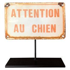 "French ""Beware of Dog"" Enameled Sign"