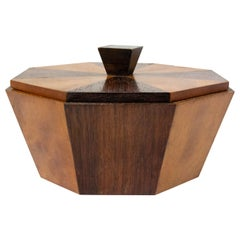 French Bicolor Octogonal Wooden Box, Mid-Century