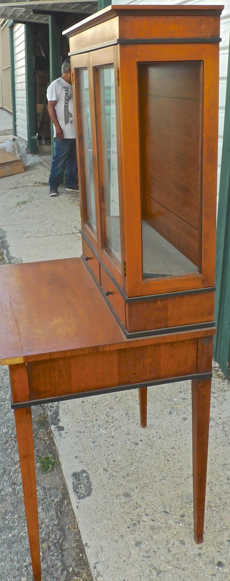 Stained French Biedermeier 1940s Birchwood Desk with 3 Drawers and 2 Glass Cabinet Doors For Sale
