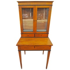 French Biedermeier 1940s Birchwood Desk with 3 Drawers and 2 Glass Cabinet Doors