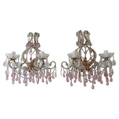 French Big Beaded Crystal Prisms Swags Cranberry Pink Murano Drops Sconces c1900