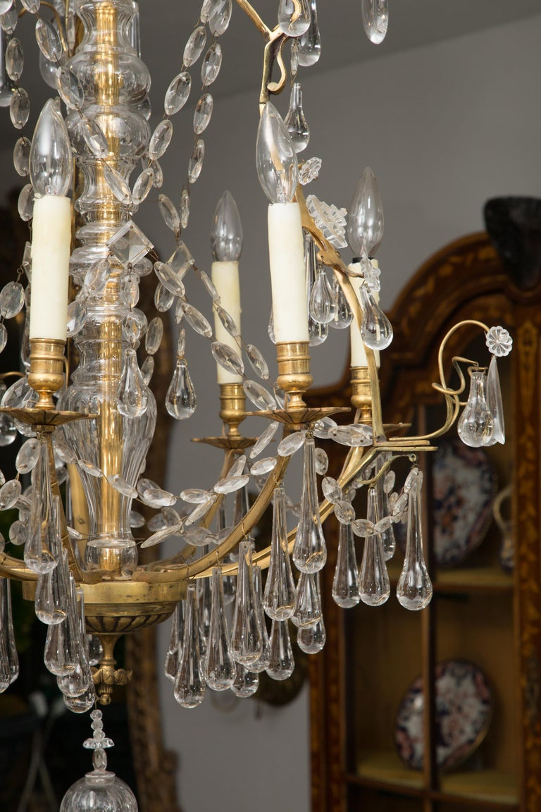 French Birdcage Chandelier with Crystal Drops For Sale 4