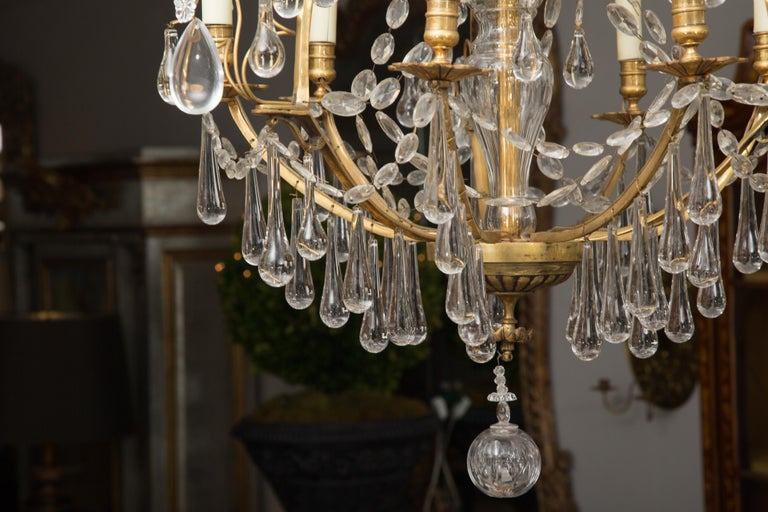 French Birdcage Chandelier with Crystal Drops For Sale 5