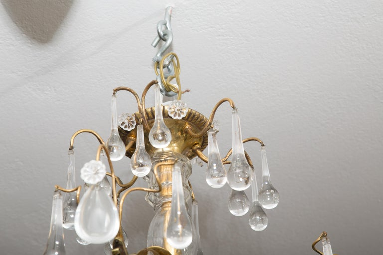 20th Century French Birdcage Chandelier with Crystal Drops For Sale