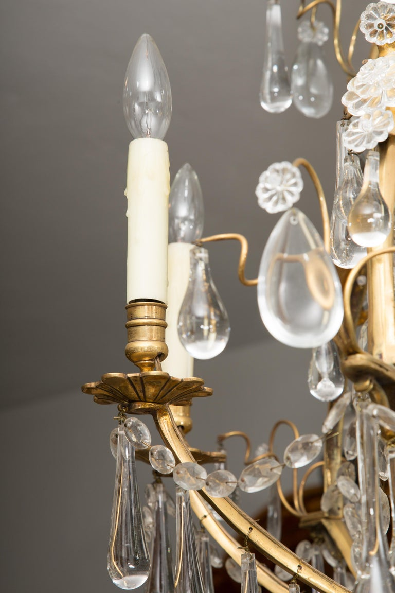 French Birdcage Chandelier with Crystal Drops For Sale 2