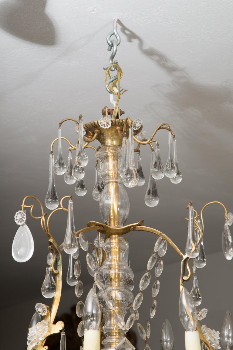 French Birdcage Chandelier with Crystal Drops For Sale 3