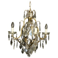 French Birdcage Crystal 5-Light Antique Chandelier