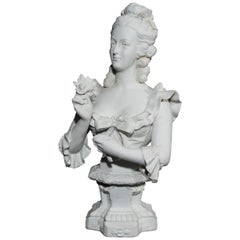 French Bisque Porcelain Busts of Marie Antoinette