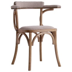 French Bistro Design Elm Curved Wood and Linen Armchair