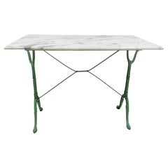 French Bistro Garden Table Marble Cast Iron and Top Coffee Tables, 1960