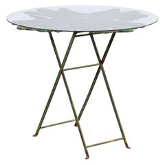 French Bistro Table with Uniquely-Designed Wood Top, Glass over