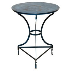 French Bistrot Blue Metal Table, circa 1930