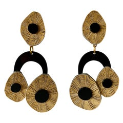 French Black and Tan Origami Statement Earrings