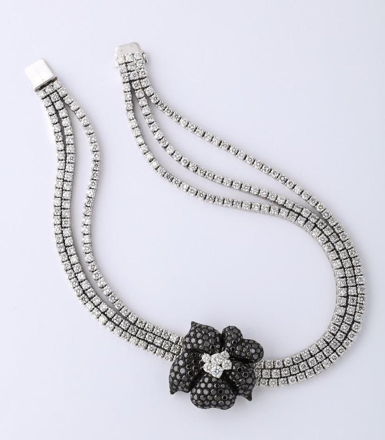 Modern French Black Diamond Flower Triple White Diamond Riviere Necklace For Sale
