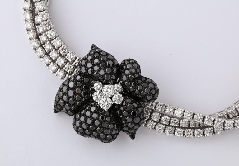 Round Cut French Black Diamond Flower Triple White Diamond Riviere Necklace For Sale