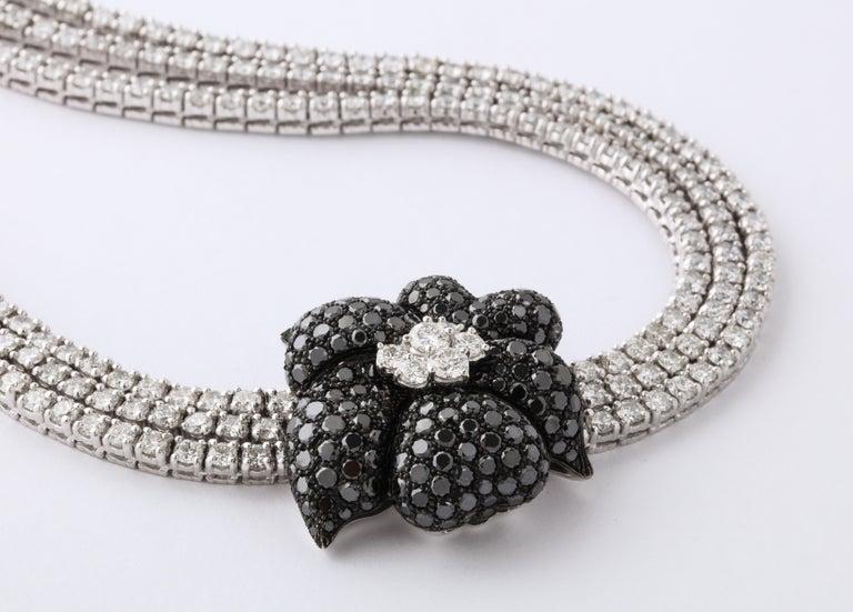 Women's or Men's French Black Diamond Flower Triple White Diamond Riviere Necklace For Sale
