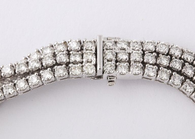 French Black Diamond Flower Triple White Diamond Riviere Necklace For Sale 1