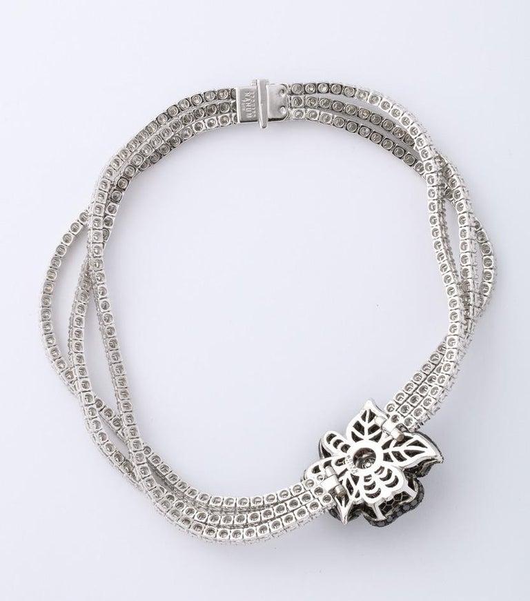 French Black Diamond Flower Triple White Diamond Riviere Necklace For Sale 2