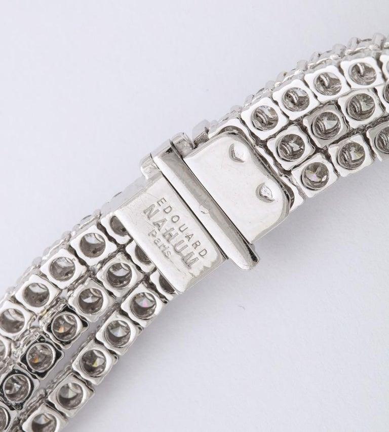 French Black Diamond Flower Triple White Diamond Riviere Necklace For Sale 3