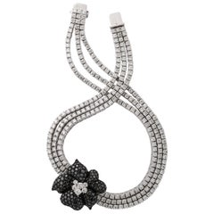 French Black Diamond Flower Triple White Diamond Riviere Necklace