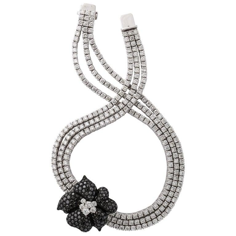 French Black Diamond Flower Triple White Diamond Riviere Necklace For Sale