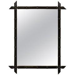 French Black Ebonized Faux Bamboo Mirror with Protruding Corners, circa 1920