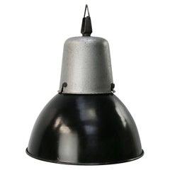 French Black Enamel Vintage Industrial Pendant Lights by Mazda