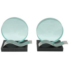 French Black Granite and Glass Slab with Etching Bookends