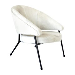 French Black Iron Framed with White Hair on Hide Upholstered Lounge Chair
