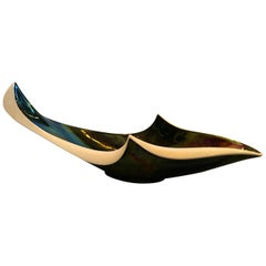 French Black, Ivory, Green, Blue, Yellow, Red Glazed Ceramic Decorative Bowl