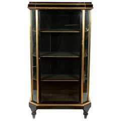 French Black Lacquer and Brass Glazed Display Cabinet