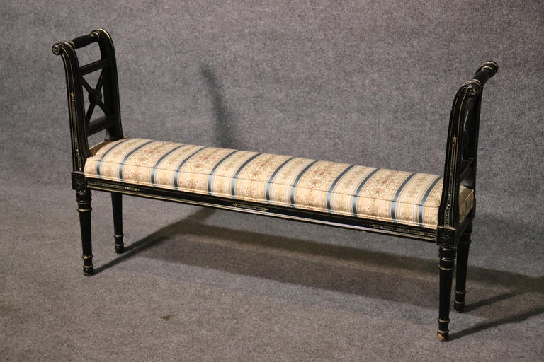 This is a very unique window bench. The size is quite rare at 47 wide x 9 inches deep x 28 tall. The seat height is 16 inches. The bench features a black lacquer finish with abalone inlay on its sides which I have never seen before. Its a small