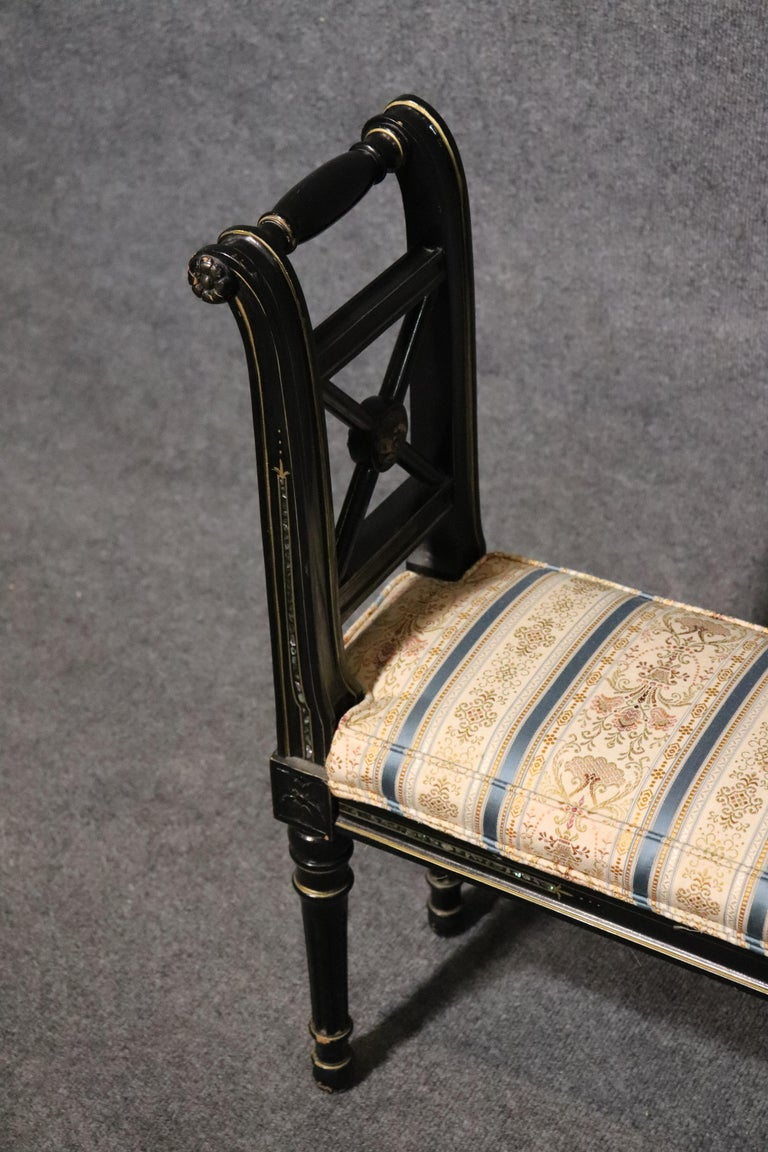 Mid-20th Century French Black Lacquer Ebonized Louis XVI Window Bench with Abalone Shell Inlay For Sale