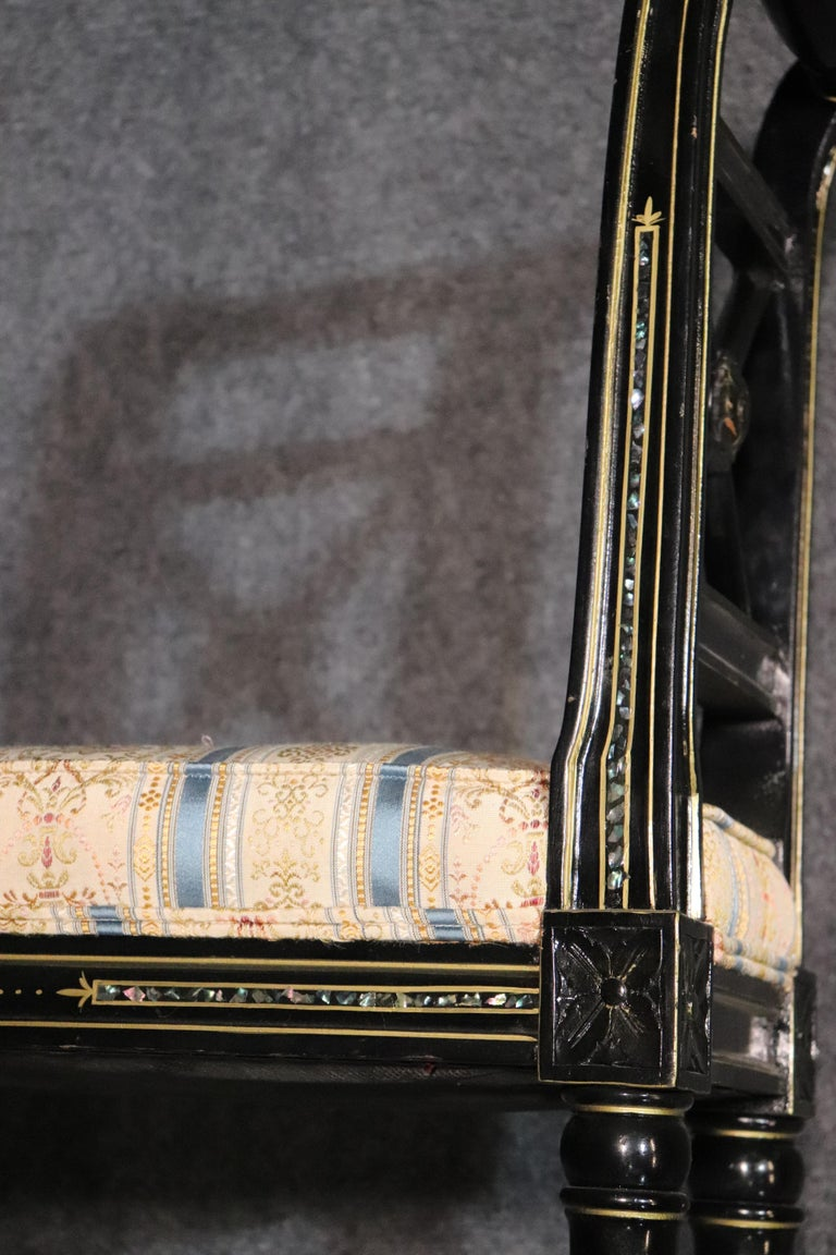 Beech French Black Lacquer Ebonized Louis XVI Window Bench with Abalone Shell Inlay For Sale