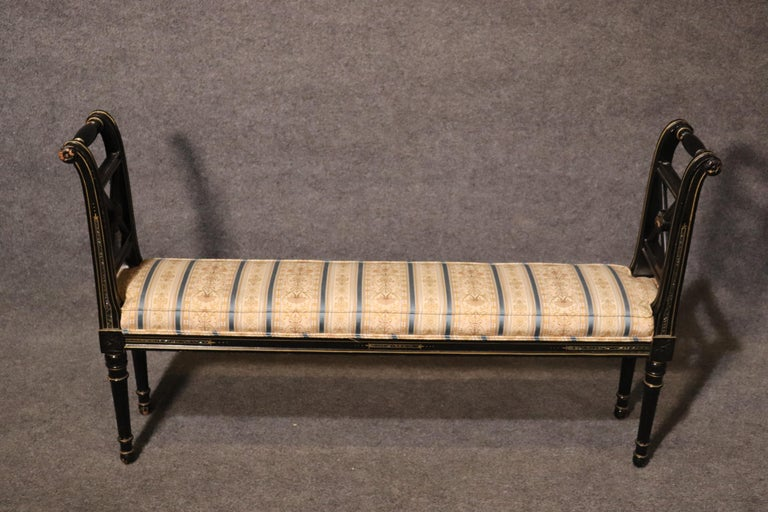 French Black Lacquer Ebonized Louis XVI Window Bench with Abalone Shell Inlay For Sale 2
