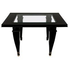 French Black Lacquered Occasional Table