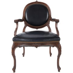 French Black Leather Armchair/ Desk Chair
