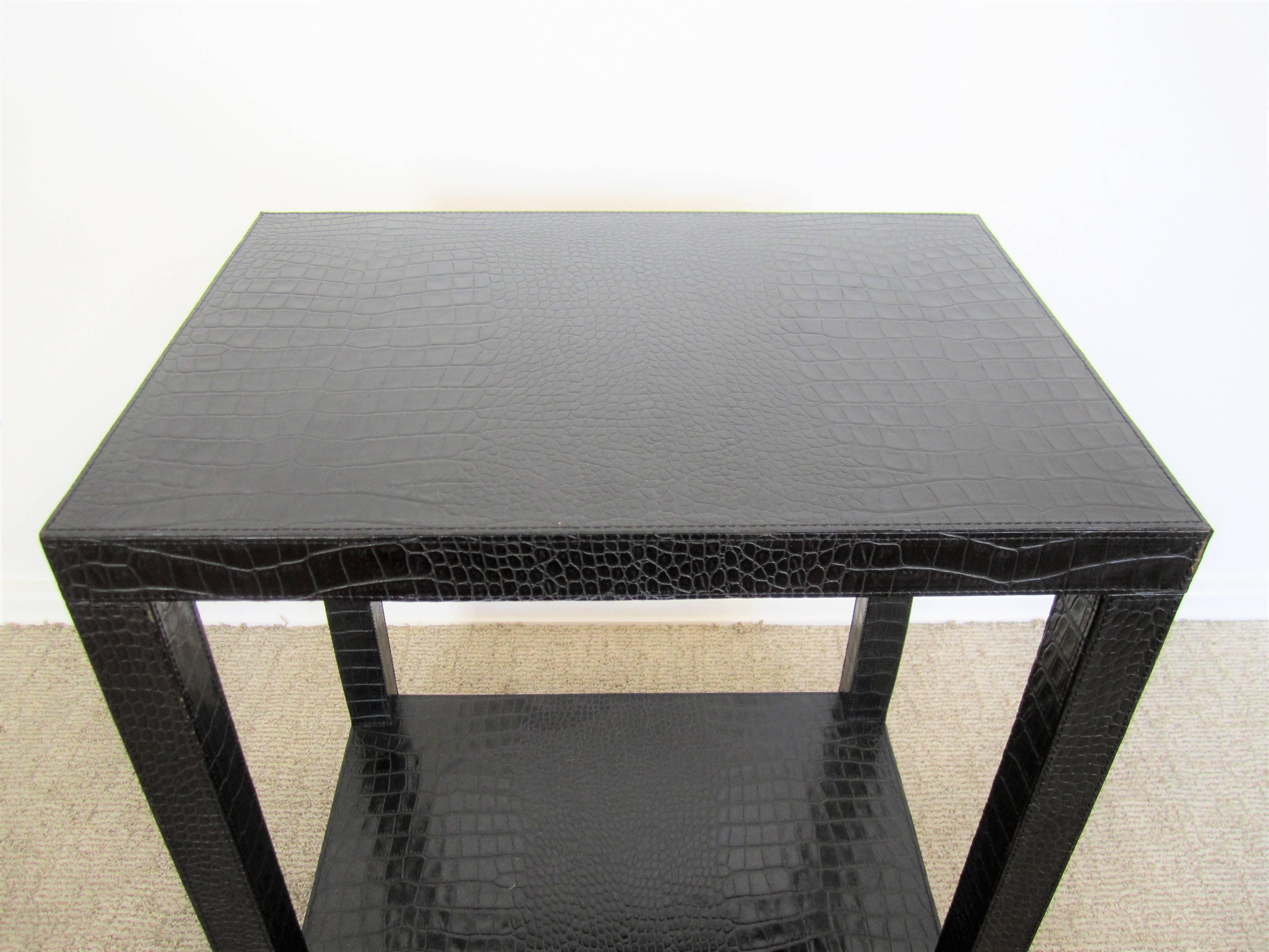 French Black Leather End Table