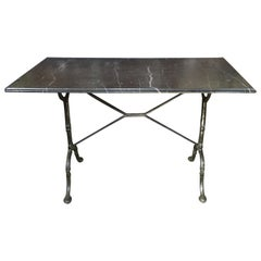 French Black Marble & Iron Bistro Table
