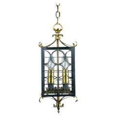 Mid Century French Black Metal and Polished Brass  Lantern