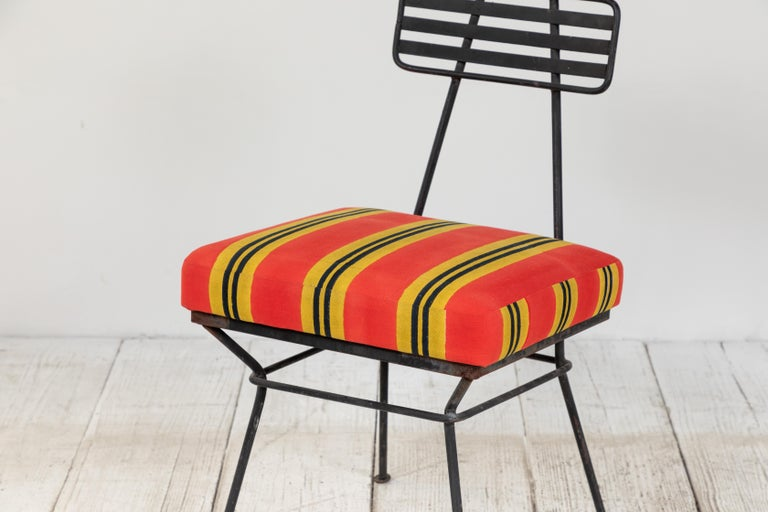 French Black Metal Chair with Striped Fabric 6