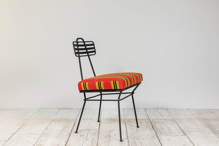 French Black Metal Chair with Striped Fabric In Good Condition In Los Angeles, CA