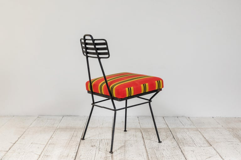 Late 20th Century French Black Metal Chair with Striped Fabric