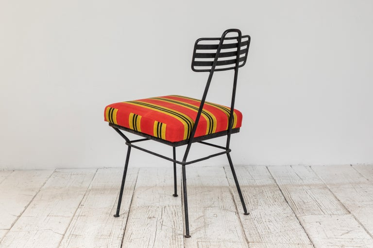 French Black Metal Chair with Striped Fabric 1