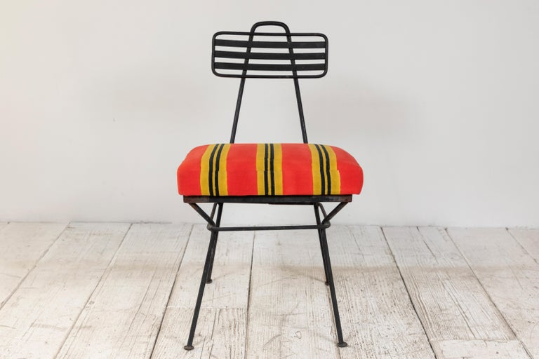 French Black Metal Chair with Striped Fabric 2
