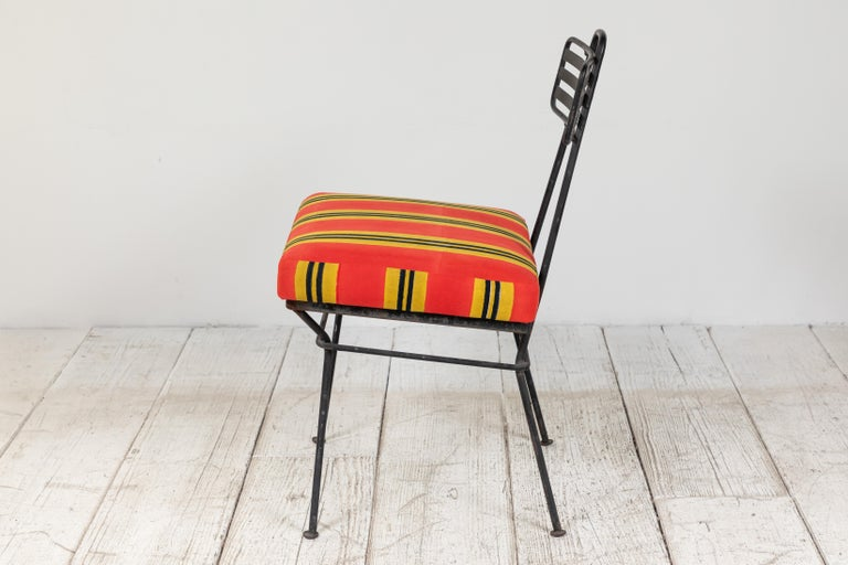 French Black Metal Chair with Striped Fabric 3