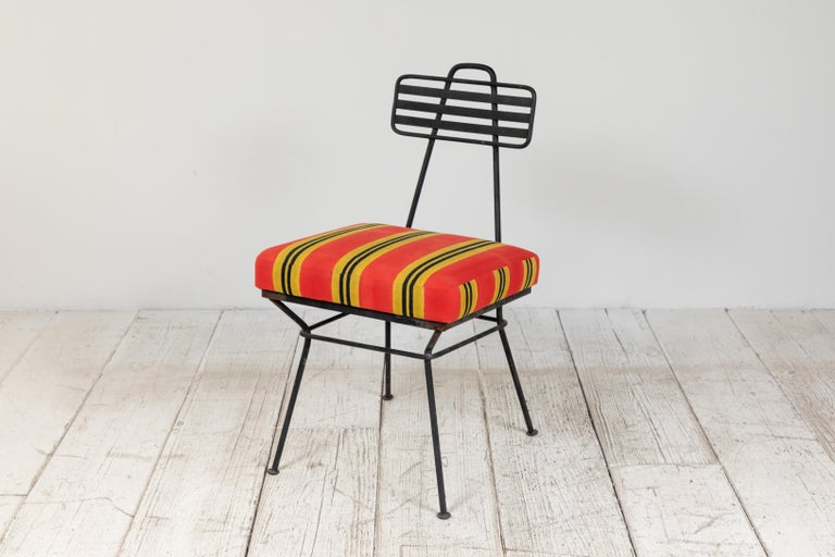 French Black Metal Chair with Striped Fabric 4
