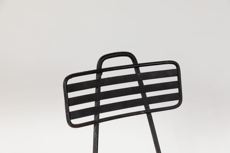 French Black Metal Chair with Striped Fabric 5